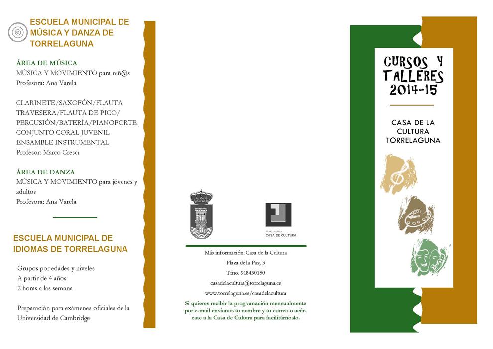 Cursos y talleres en Torrelaguna para el curso 2014/2015