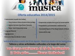 Oferta musical de la Escuela de Música de Fuente el Saz