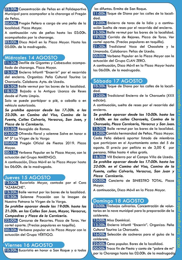 Programa de fiestas de Uceda 2019
