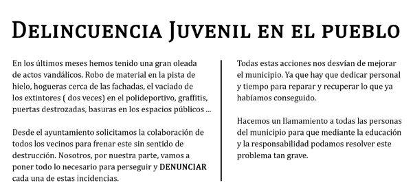 El Ayuntamiento de Valdetorres del Jarama denuncia «delincuencia juvenil en el pueblo»