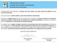 El Ayuntamiento de Fuente el Saz informa sobre la desinfección de las zonas más concurridas por el coronavirus