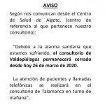 Cierran el Consultorio de Valdepiélagos por reorganización de la Consejería de Sanidad