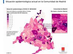 Mapa interactivo del coronavirus de los municipios de Madrid