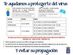 El Ayuntamiento de Uceda repartirá este fin de semana gel hidroalcohólico y mascarillas en Uceda, Peñarrubia y Caraquiz