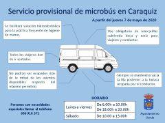 El servicio de microbús de Caraquiz vuelve a funcionar con restricciones en su espacio y cumpliendo medidas de prevención