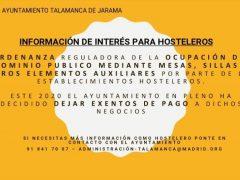 El Ayuntamiento de Talamanca de Jarama deja exentas de pago a las terrazas del municipio