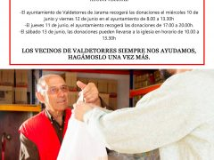 El Ayuntamiento de Valdetorres de Jarama y Cáritas solicitan ayuda vecinal