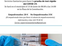 El Ayuntamiento de Valdetorres de Jarama ofrece a sus vecinos test de COVID-19 por solo 28 euros