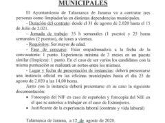El Ayuntamiento de Talamanca de Jarama oferta tres plazas para personal de limpieza