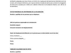 Modelo de declaración responsable para entrada y salida de la Comunidad de Madrid