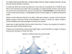 El alcalde de Uceda avisa a los niños por carta de una llamada de Papá Noel y los Reyes Magos
