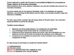 Protección Civil de Fuente el Saz publica un comunicado de control y prevención de incendios